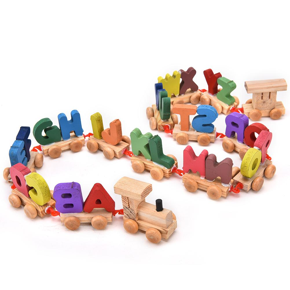 1 Set Hot Sale Multicolor Wooden Toy Letters Train Children Learning Baby Rope Train Toys Wooden Building Blocks Train Wholesale Attractive And Durable