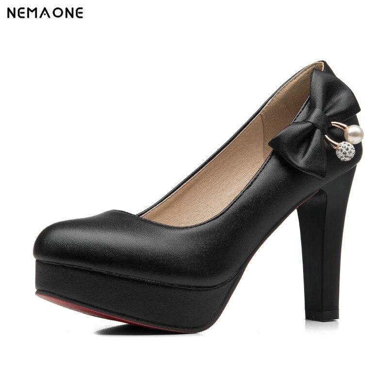 Noeuds Pu Noir Pompes Papillon blanc Doux De 34 Nemaone Talons Haute Mariage 43 Plus Paltform En Robe Femmes Classique Cuir Chaussures rose tHwwP5q