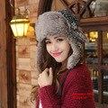 Sombreros de invierno Para Las Mujeres Bombardero Sombrero de Piel Gorro de Invierno Ruso Nieve Gorras Chapeu Gorras Con Orejeras Sombrero de Invierno Mujer