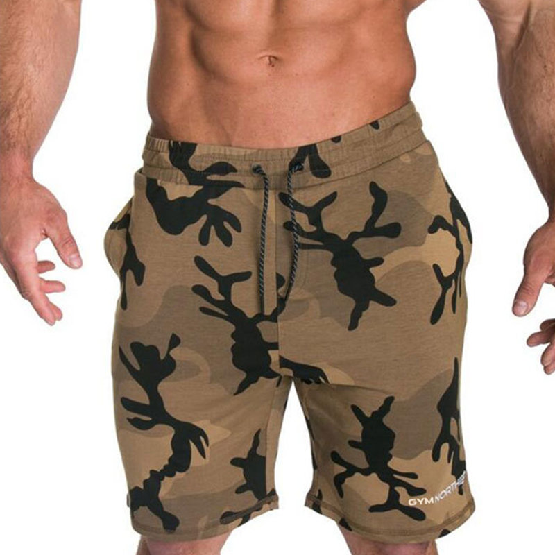 Men Camouflage Shorts Calf-Length Gyms Fitness Bodybuilding Summer Jogger Casual Beach Workout Short Pants Male Brand Sportswear