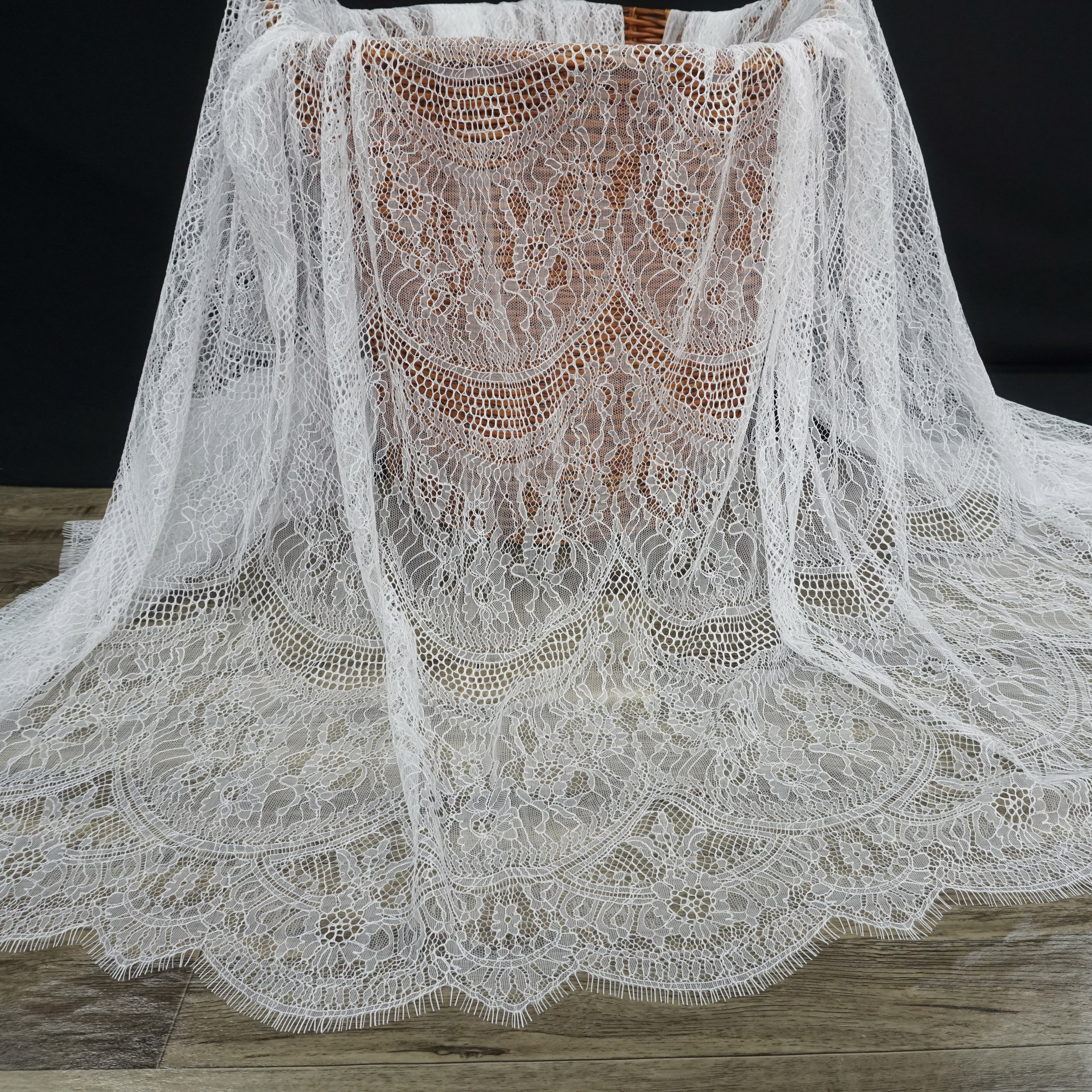 Quality subtle french chantilly lace fabric 3 meters long=1 Piece! Off white, Black color for making women dress eyelash tissues