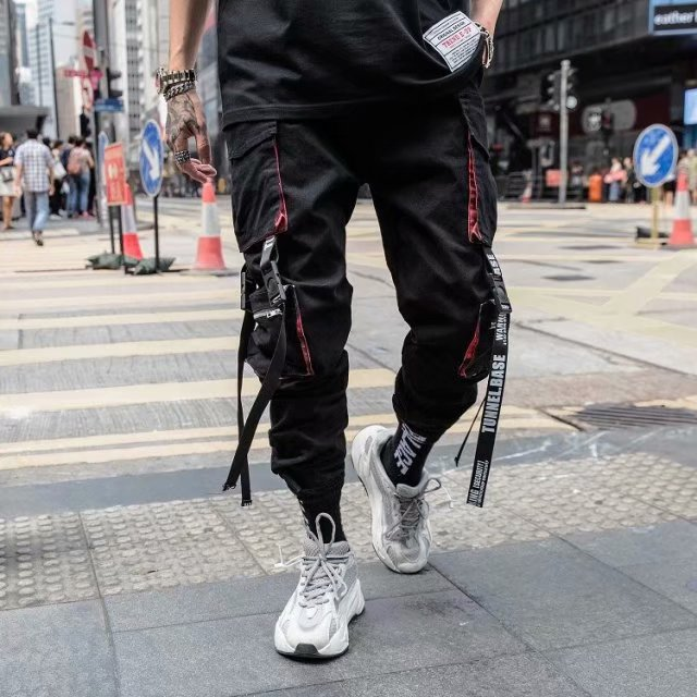 Trousers Men Joggers-Pants Pocket Streetwear Hiphop Men's New-Fashion Cool