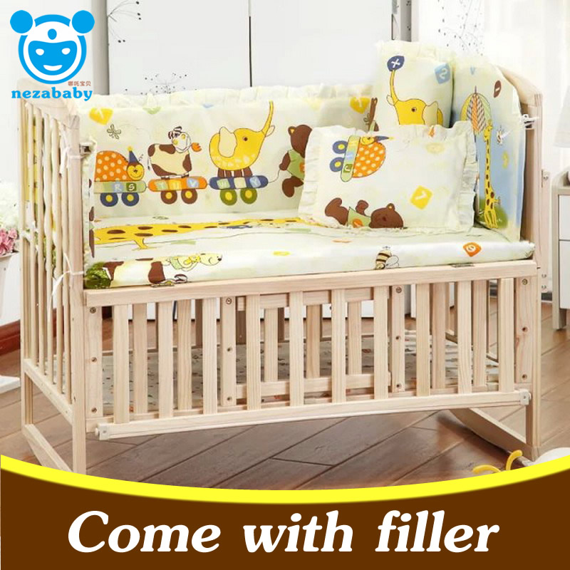 5pcs set infant baby crib bedding set bumper for boy girl baby nursery bedding sets cartoon baby. Black Bedroom Furniture Sets. Home Design Ideas