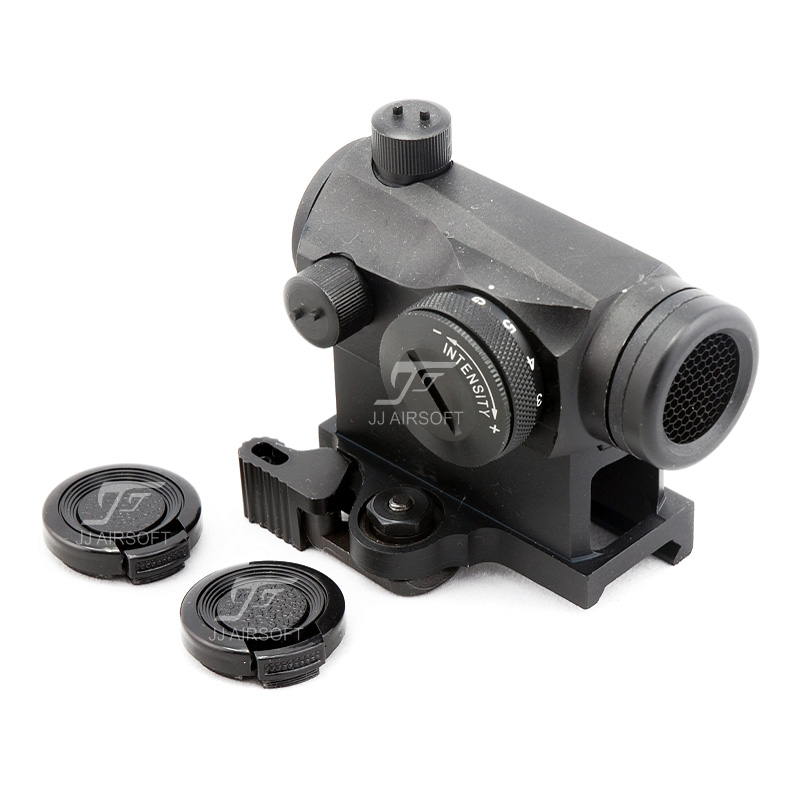 JJ Airsoft Micro 1x24 Red Dot With QD Riser Mount & Killflash / Kill Flash (Black/Silver/Tan)