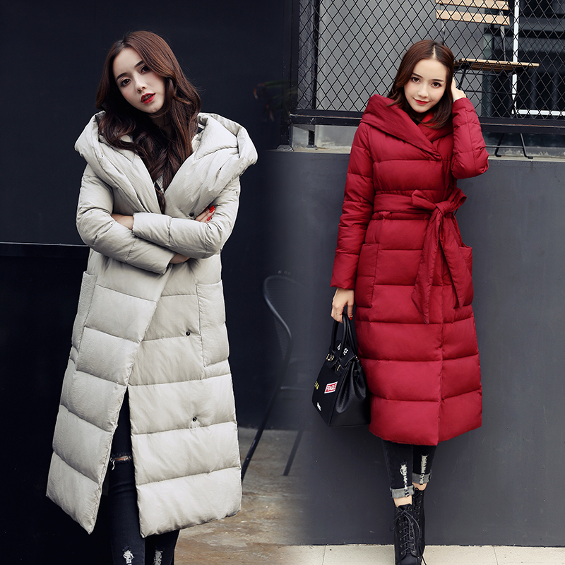 Manteau Femme Hiver Belt Long Winter Coat Women 2017 Korean Cotton Thick Slim Coat Casual Winter Jacket Plus Size Women Parkas women s winter jacket hooded thick warm parkas cartton solid high quality cotton coat manteau femme hiver plus size l 4xl dj29