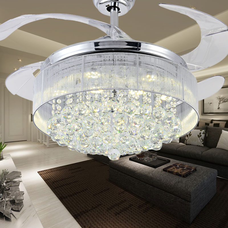 100 Crystal Ceiling Fan Decorative Silver Body Retractable Blades Light Living Room Led Dining Roomin Fans From Lights
