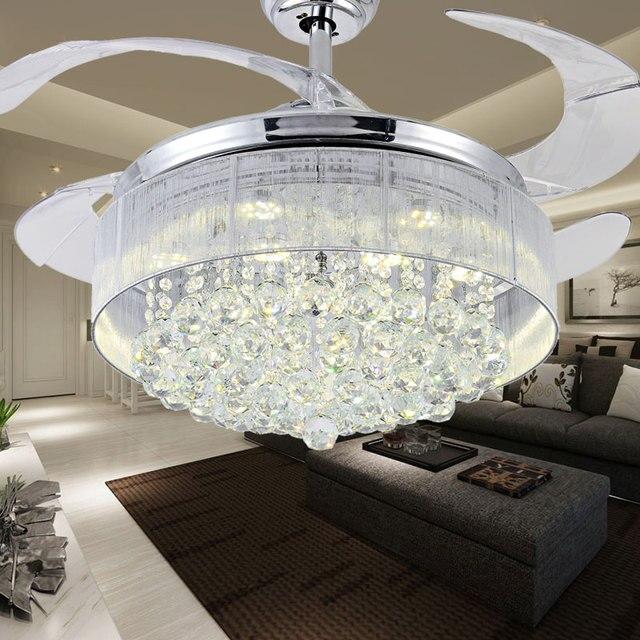 100 Crystal Ceiling Fan Decorative Silver Fan Body
