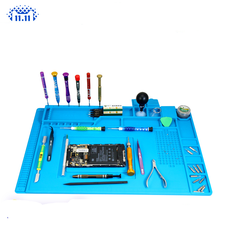 S-170 S-160 S-150 S-140 Heat Insulation Silicone Soldering Pad Mat Desk Maintenance Platform For Repair Station With Magnetic