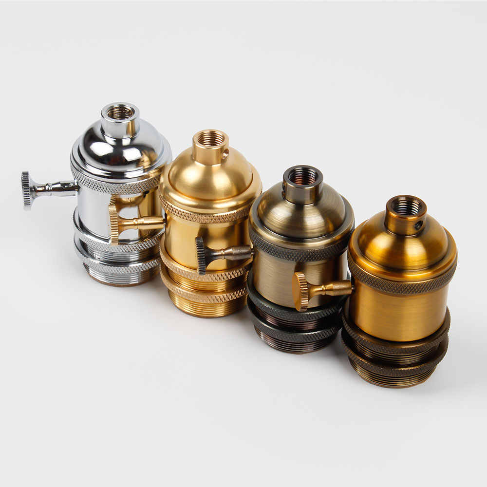 Lamp Base E27 Screw Bulb Socket Aluminum Lamp Holder Industrial Retro Pendant Fittings Lustre Lamp holders Fixture Vintage DIY