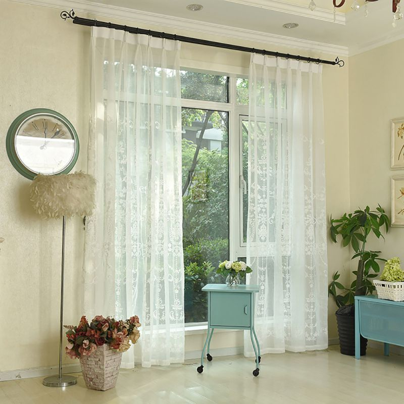 embroidery voile curtains /European bedroom/ Sheer curtains for the Living Room curtains / Tulle panels window /White