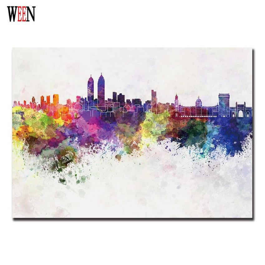 ᗑWeen colorido ciudad cuadros decoracion cuadros arte lienzo ...