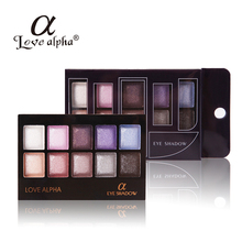 2016 Women Makeup Diamond 10 Colors Eyeshadow Palette Shimmer Make Up Eye Shadow Palette Naked Brand Alpha With Brush