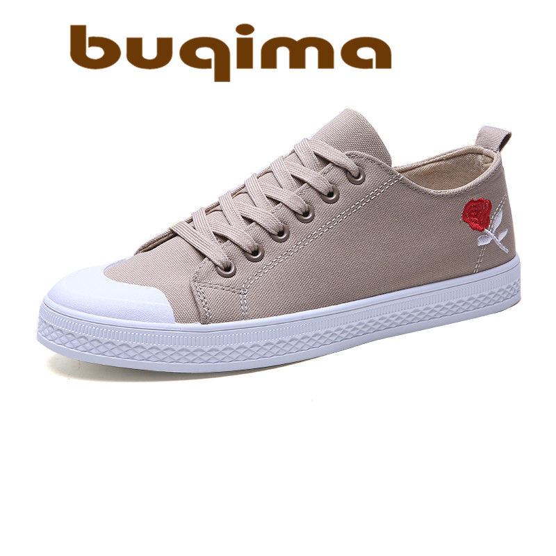 Buqima2019 new mens casual canvas shoes fashion light board with sports summer breathable embroidered flat
