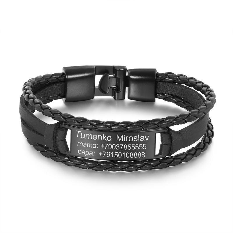 6b02c072a7d5 Personalizado personalizado grabado pulseras para hombre Vintage negro  cuero pulsera personalizada letras logotipo a mi hijo