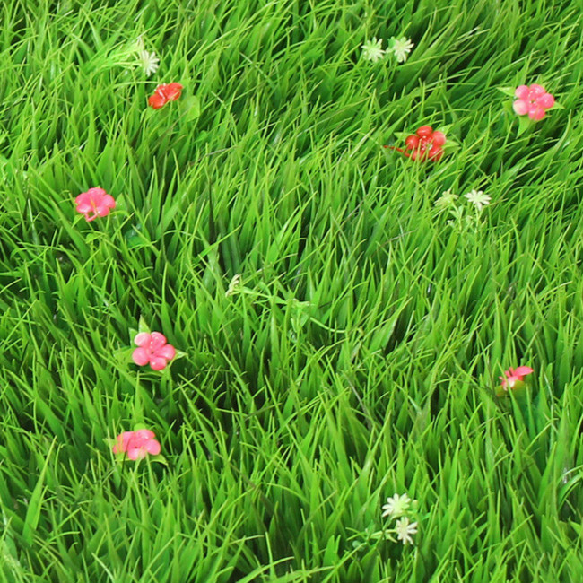 Wholesale Plastic Synthetic Lawn Simulation Turf Artificial Lawn With Flower Grass Mat Boxwood Mat For Garden