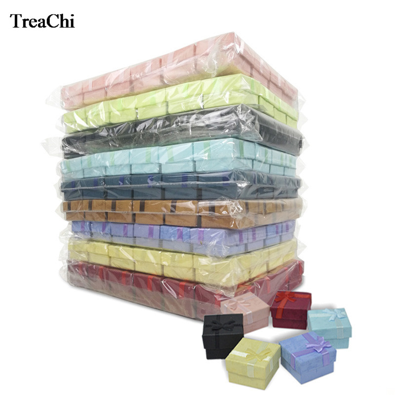 Wholesale 240Pcs MiniPaper Jewelry Package Box Bulk Colorful Ribbon Earring Stud Organizer Wedding Ring Storage Gift
