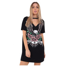 7b5716eea2a5 Women s New Fashion Sexy V Neck Dress Print Punk Rock Rose Eagle Halter T  Shirt Dress Short Sleeve Casual Loose Summer Mini Dr