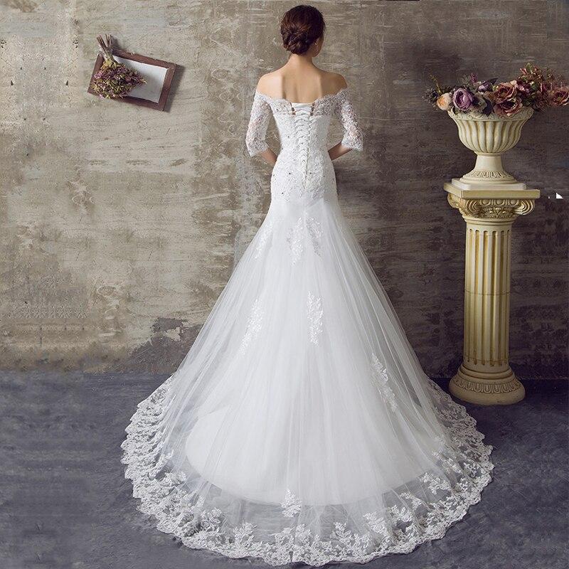 WB321 Boat Neck Wedding Dresses Half Sleeve Bridal Gown Off The Shoulder Appliques  Lace Mermaid Wedding Dress With Sleeves-in Wedding Dresses from Weddings ... 7df3d73eef42