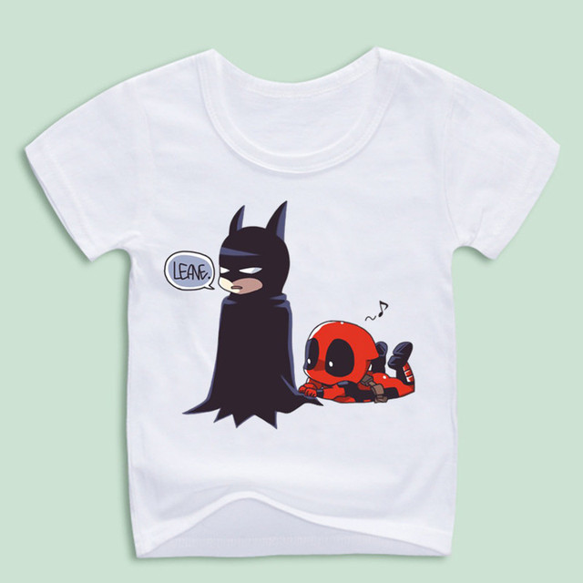 6689a8b7d Boy and Girl Deadpool Spiderman Superhero Funny T Shirts Children ...
