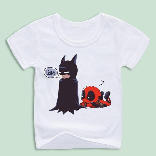 b25fc2d7b Boy and Girl Deadpool Spiderman Superhero Funny T Shirts Children ...