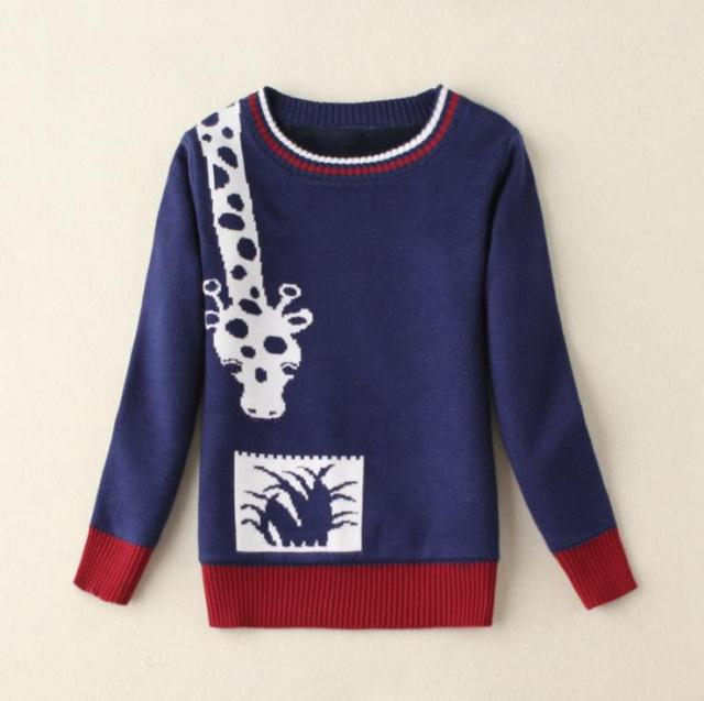 2-9Y Boys Sweater Kids Pullovers Thick Fleece O-neck Full Sleeve Giraffe Pattern Children Clothes For Winter AS-1505