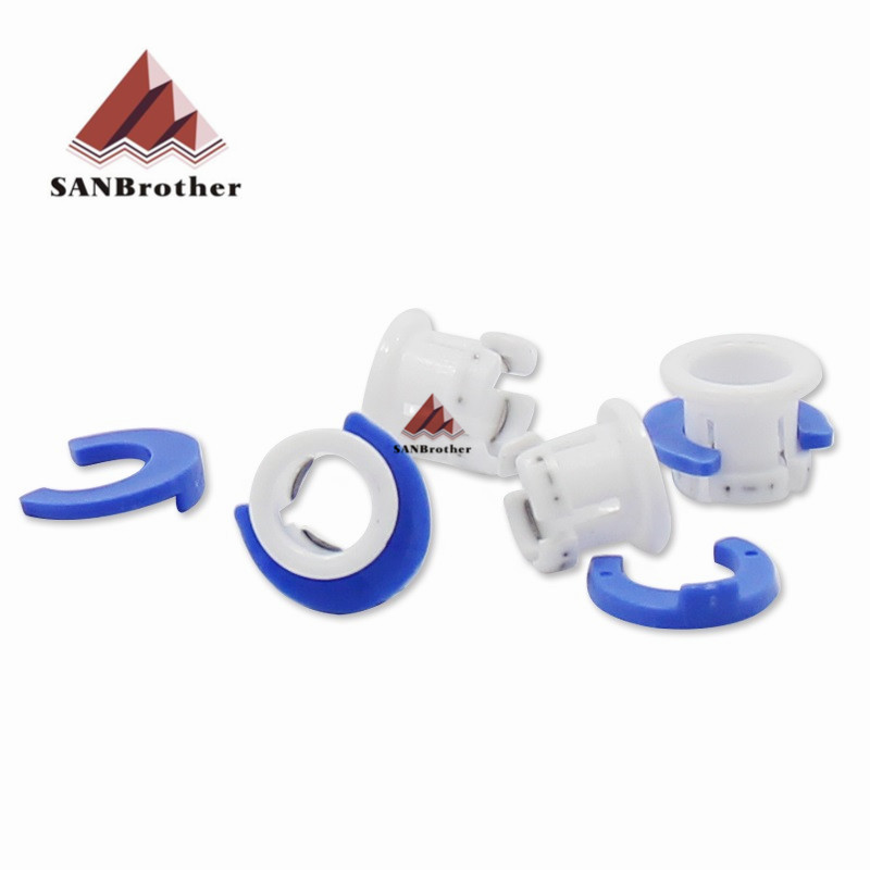 10Set White Bowden Tube Clamp Blue Pipe Horse Clip Fixed 6mm 3D Printers Parts Shoe Coupling Collet Part Plastic Accessories