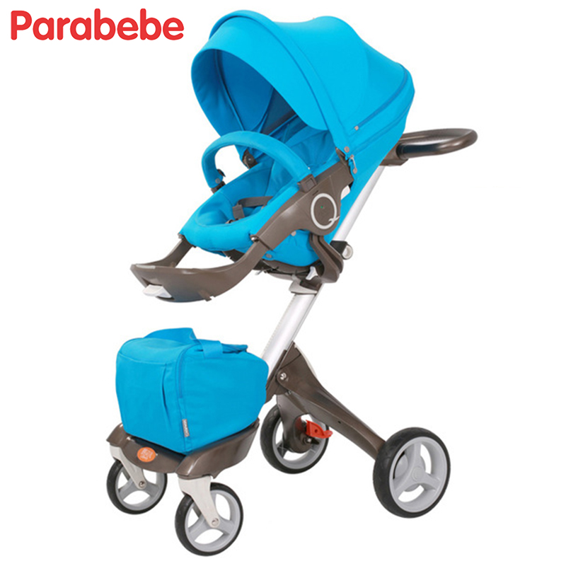 Blue Baby Carriage Children Luxury Pushchair For Baby With An Umbrella Waterproof Baby Stroller Folding Light Baby Pram 3 in 1 baby stroller pram children pushchair travel stroller folding ultra light two way umbrella car hw 606