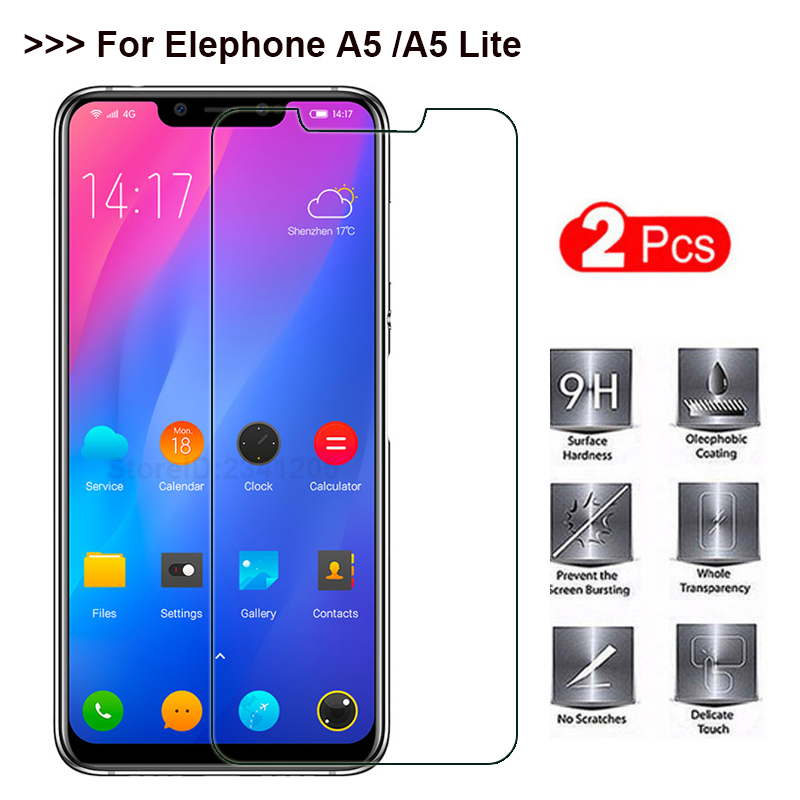 2PCS Elephone A5 Tempered Steel Film Front Glass Protective Tempered Glass For Elephone A5 lite Screen Protector Mobile Phone