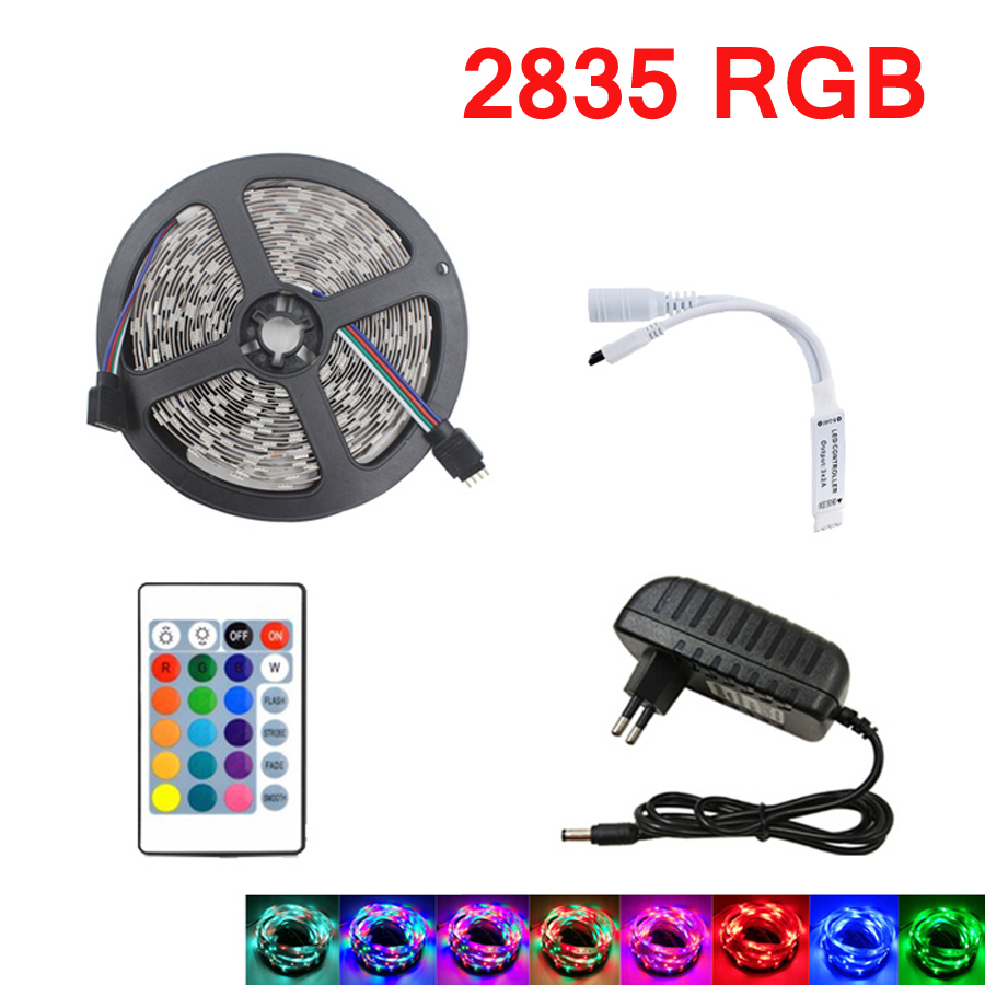 2835 SMD RGB LED Strip Light 5m 10M LED String İşıq lent lentli LED diod lampa çevik 24Keys nəzarətçi DC 12V adapter dəsti