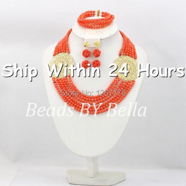 Trendy Pink Coral Beads Jewelry Set 6 Layers African Wedding Necklace Bracelet Set Bridesmaid Jewelry set Free Shipping ABC477