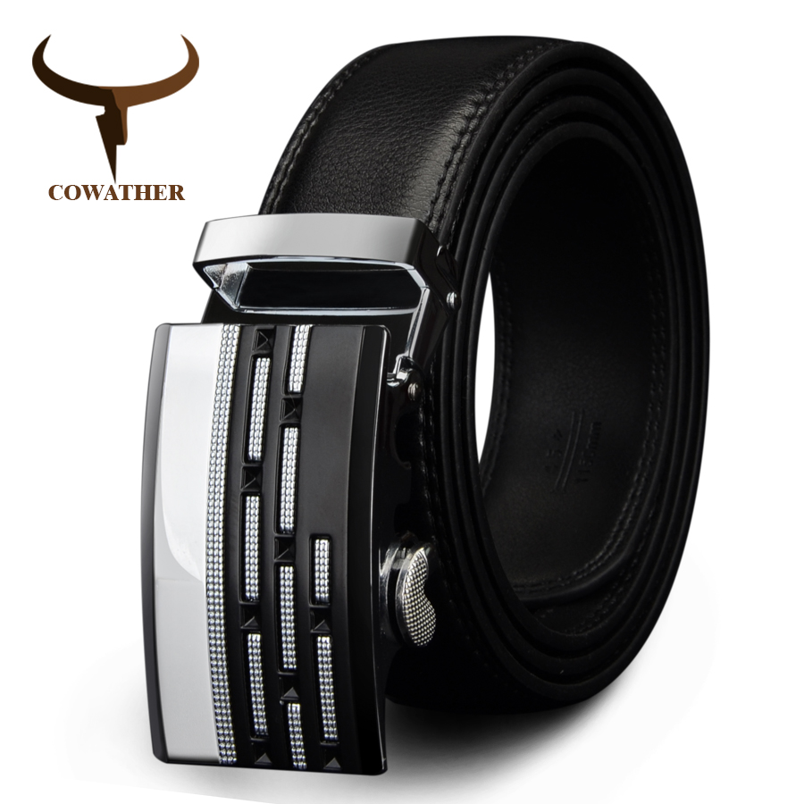 COWATHER designer belts formal cow genuine leather belts for men automatic alloy buckle black brown color size 34-44 cz036