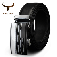 COWATHER Designer Belts Cow Genuine Leather Belts For Men Automatic Alloy Buckle Black Brown Color Size