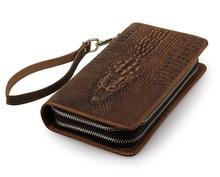 Vintage Crocodile Pattern Mens Wallets Double Zipper Long Wallet Purse Mobile Phone Male Bag Cowhide Men