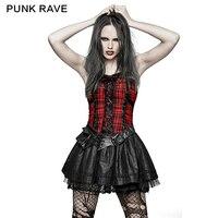2017 Gloednieuwe Punk Rave Lolita Leuke Sexy Party Rock fashion meisje performace kleding Plaid Jurk Corset Q310