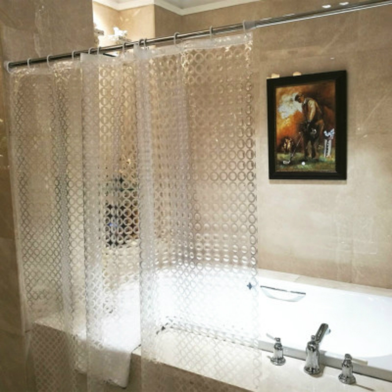 High Quality EVA Transparent Circle Line Shower <font><b>Curtain</b></font> Waterproof Mold Proof Solid Color Bathroom <font><b>Curtains</b></font> Home Decor 1PC