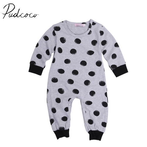 Pudcoco Long Sleeve Fashion Dot New Hot Pullover Newborn Baby Boy Girl Infant Warm Cotton Outfit Jumpsuit Romper Clothes 6-24M newborn infant warm baby boy girl clothes cotton long sleeve hooded romper jumpsuit one pieces outfit tracksuit 0 24m