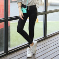 High Waist Pants For Women Winter Style 4 Button Patchwork Skinny Pencil Pants Lady's Solid Leggings Black White P8076