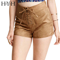 HYH HAOYIHUI Soild Brown Suede Lace Up High Waist Shorts Punk Style Women Short Pants Ladies Sexy Casual Streetwear Hot Pants
