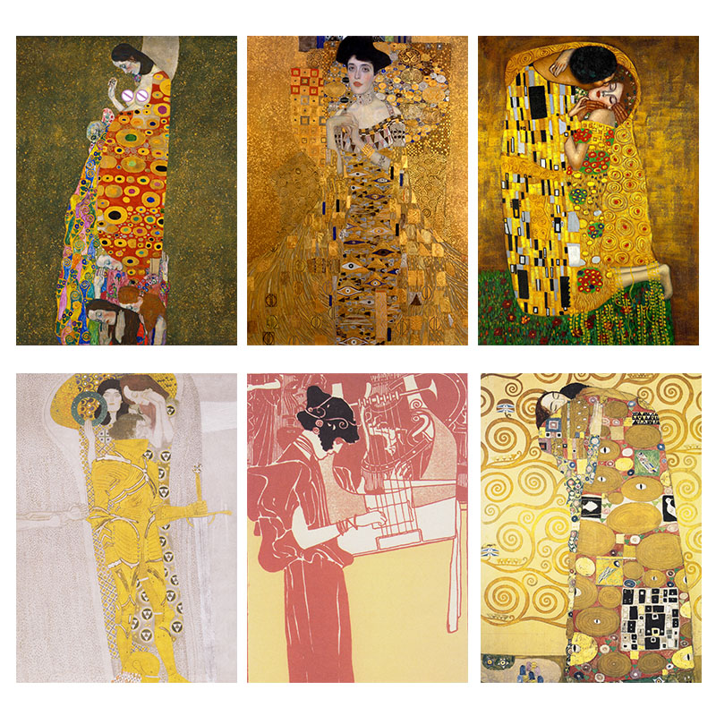 Kiss By Gustav Klimt Oil Painting Canvas Wall Art For Living Room Adele Bloch-Bauer's Portrait Paintings Decorative Pictures