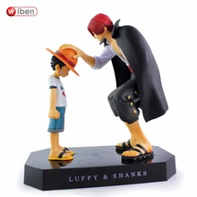 one piece anime straw hat luffy shanks red hair ornaments action figures gift doll toys 18cm child luffy models pvc collection
