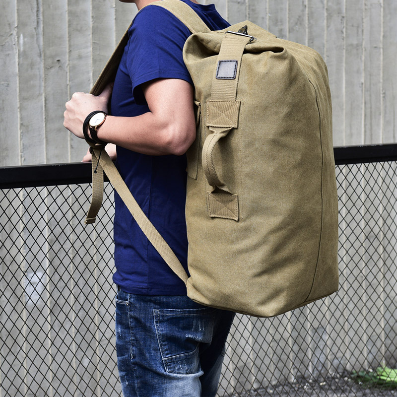 Canvas Rectangle Men's Backpack Bag Fashion Large Capacity Bag Men Sport Travel Backpack Green Male 17.3