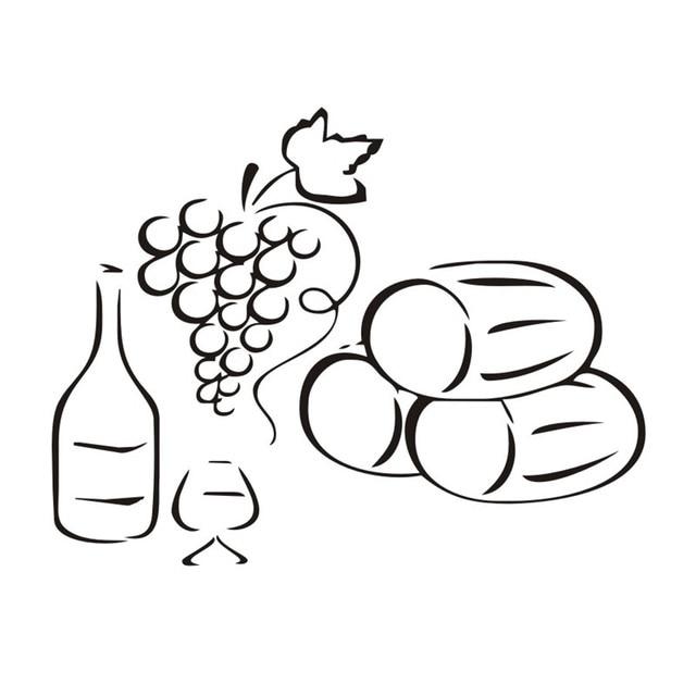 Las Uvas de Una Botella De Vino de La Pared Decoración Extraíble ...