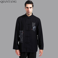 High Quality Black Traditional Chinese Mens Cotton Linen Kung Fu Shirt Tang Clothing Size S M