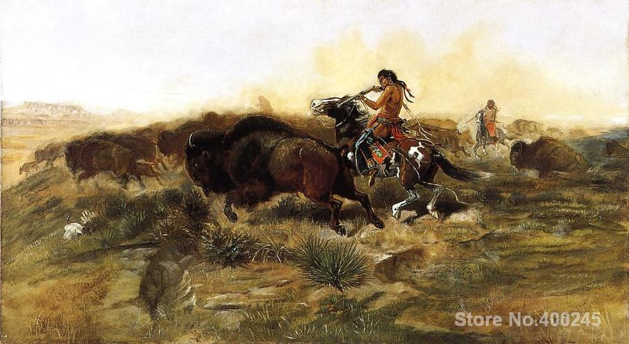 oil Painting cowboys shotting by Charles Marion Russell canvas art High quality