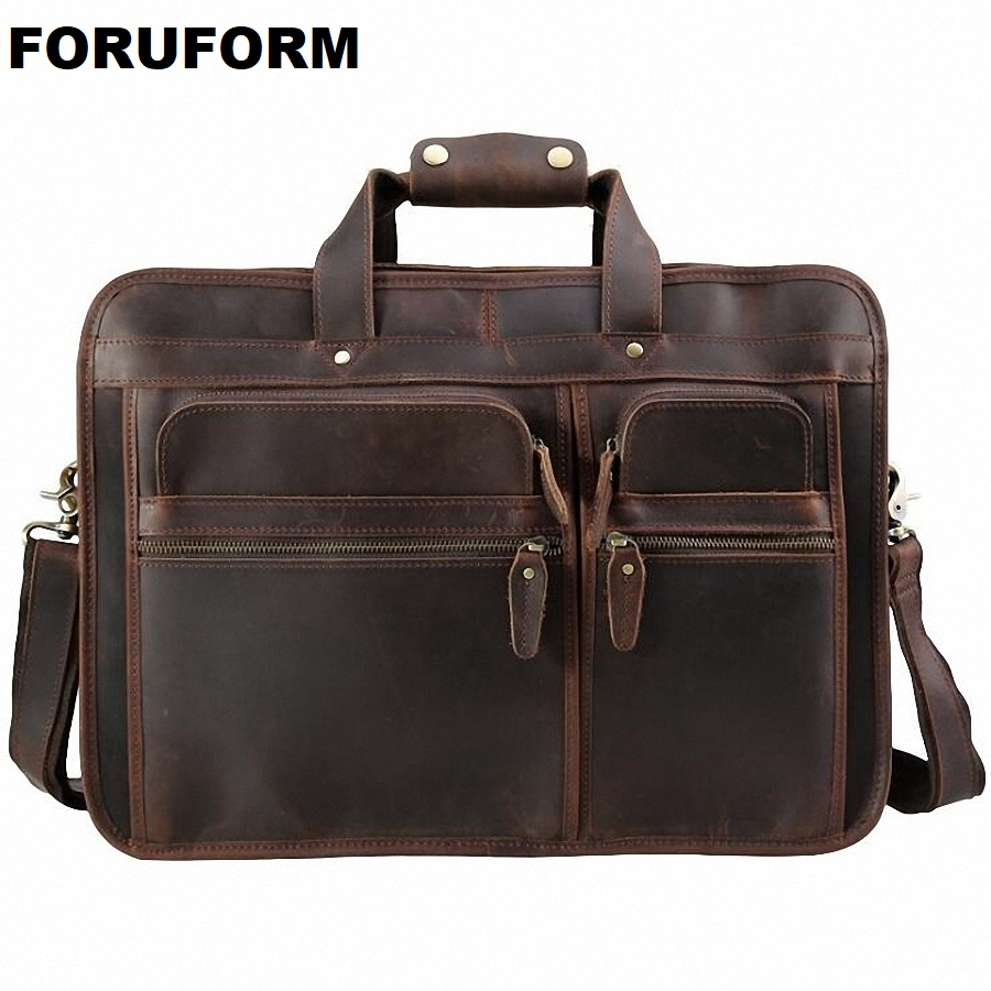 High Quality Vintage 100% Genuine Leather Men Crazy Horse Leather Briefcase Messenger Bag 15-17 inch Laptop Portfolio LI-1982 vintage genuine leather men briefcase bag business men s laptop notebook high quality crazy horse leather handbag shoulder bags