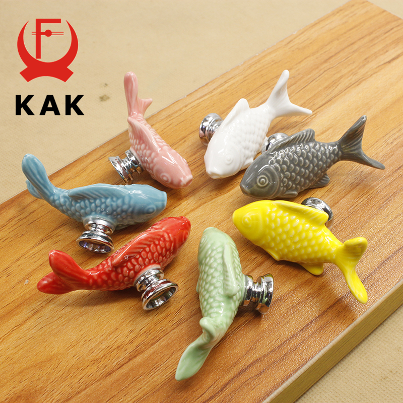 KAK Children Drawer Knobs Fish Shape Ceramic Handles For Kids Room Kitchen Cabinet Handles Cupboard Knobs Furniture Hardware