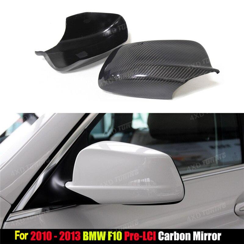 Para BMW serie 5 F10 fibra de carbono vista trasera caps espejo cubierta sedán 4 puertas coche F10 cubierta del espejo brillo negro estilo 2010-2013