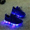 2016 Осень Мода ПРИВЕЛА детская обувь девочек мальчиков случайные Освещенные Сетки Дышащий кроссовки обувь с огнями для детей