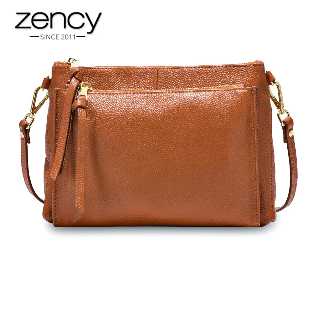 Zency Casual Women Messenger Bag 100% Real Cow Leather Brown Handbag Fashion Lady Shoulder Crossbody Purse Black Handbag Flap handbag