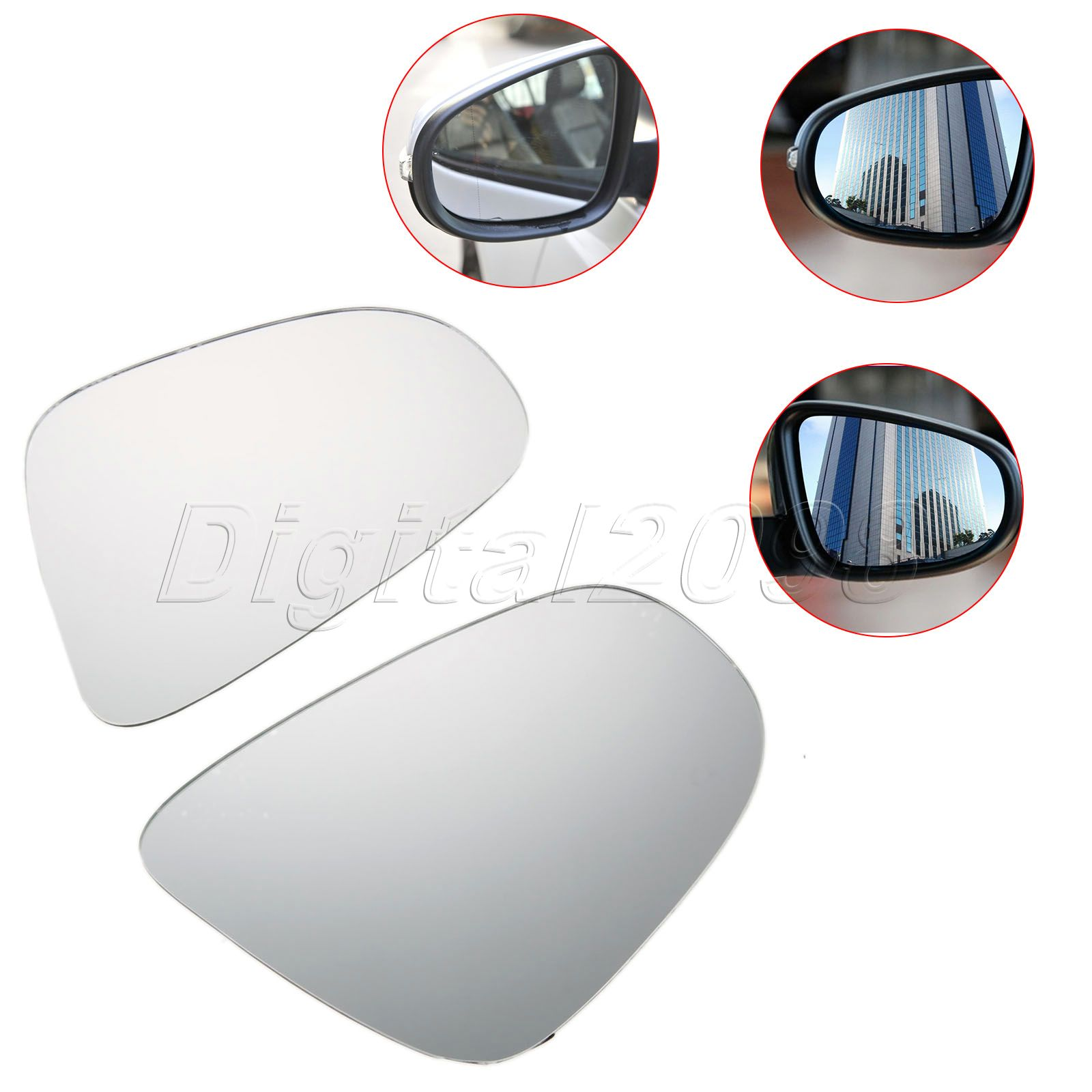 1Pair Left Right Side Heated Door Wing Mirror Glass Mirror For VW GOLF MK6 TOURAN Curved Car Rearview Heating Mirror Car-styling